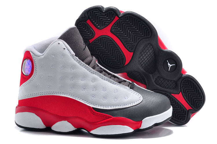 New Air Jordan 13 Grey Red Black For Kids