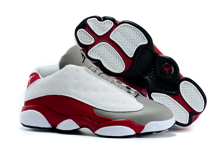 New Air Jordan 13 Low White Grey Wine Red Shoes