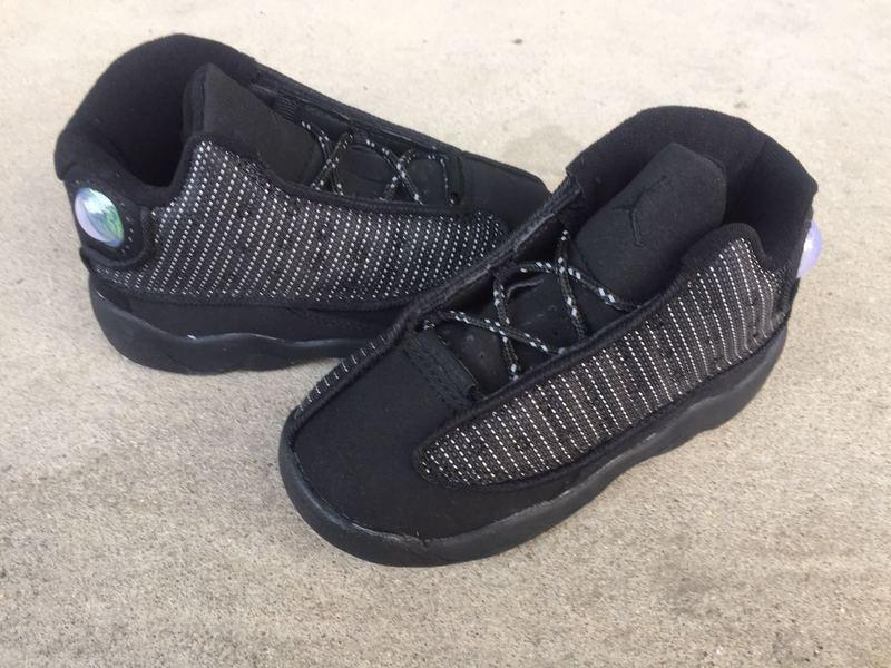 New Air Jordan 13 Retro All Black Shoes For Kids