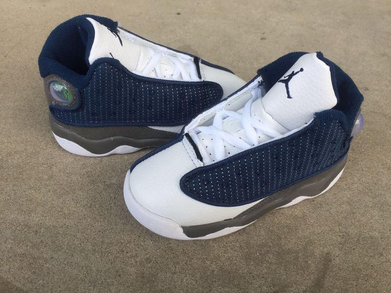 New Air Jordan 13 Retro Deep Blue White Grey Shoes For Kids