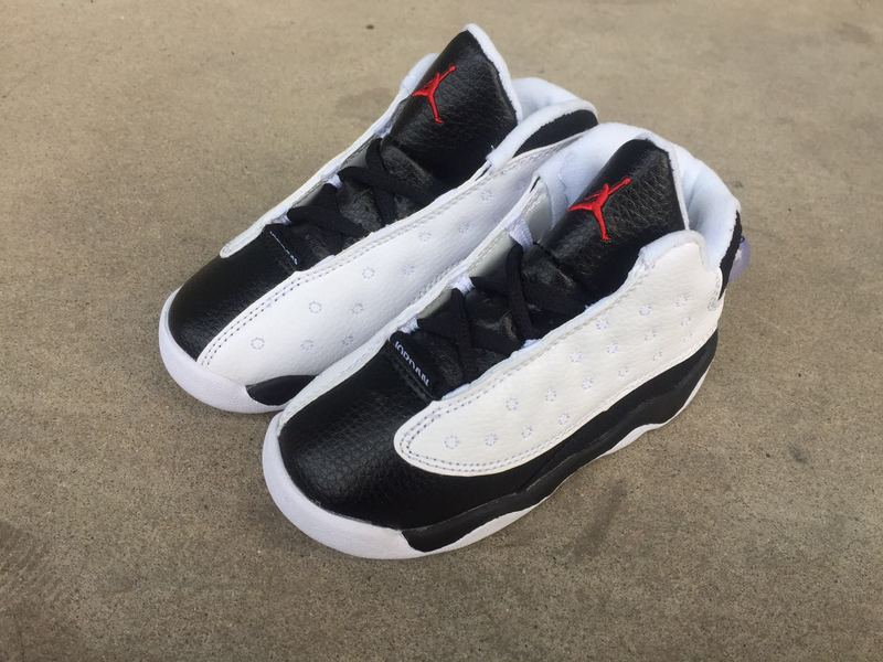 New Air Jordan 13 Retro White Black Red Shoes For Kids