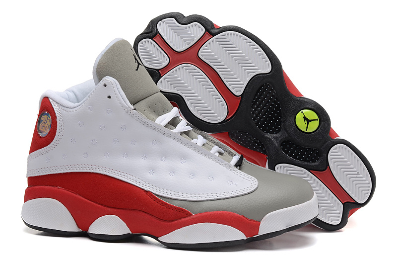New Air Jordan 13 Retro White Grey Red Shoes