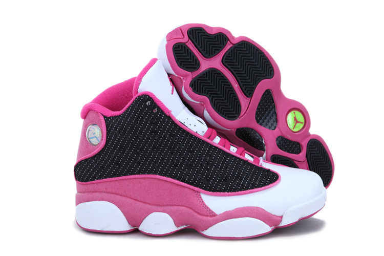 2013 Air Jordan 13 White Black Pink For Women