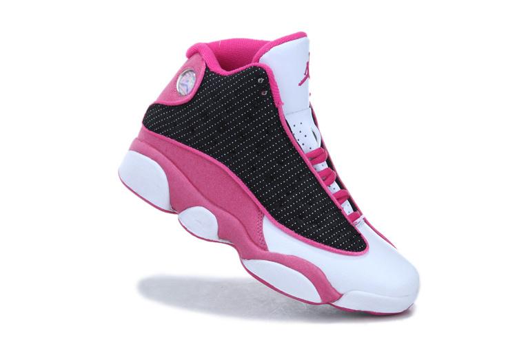 2013 Air Jordan 13 White Black Pink For Women
