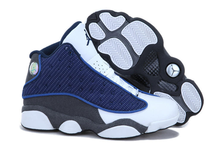 2013 Air Jordan 13 White Blue Grey For Women