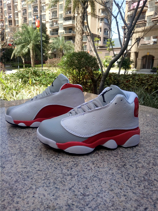 New Air Jordan 13 White Grey Red Shoes Kids
