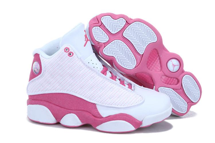 Nouveau Rose Jordans Dair Et Blanc 13