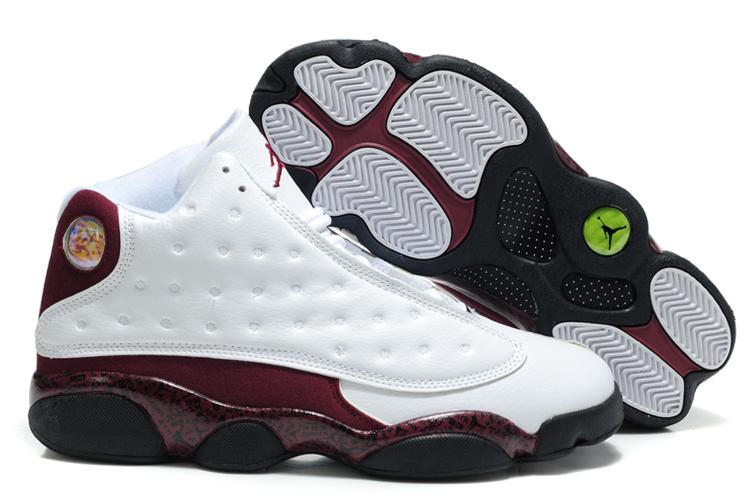 Latest Air Jordan 13 White Wine Black