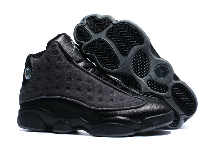 New Air Jordan 13 Wool All Black Winter Shoes