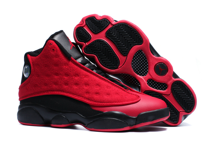 New Air Jordan 13 Wool Red Black Winter Shoes