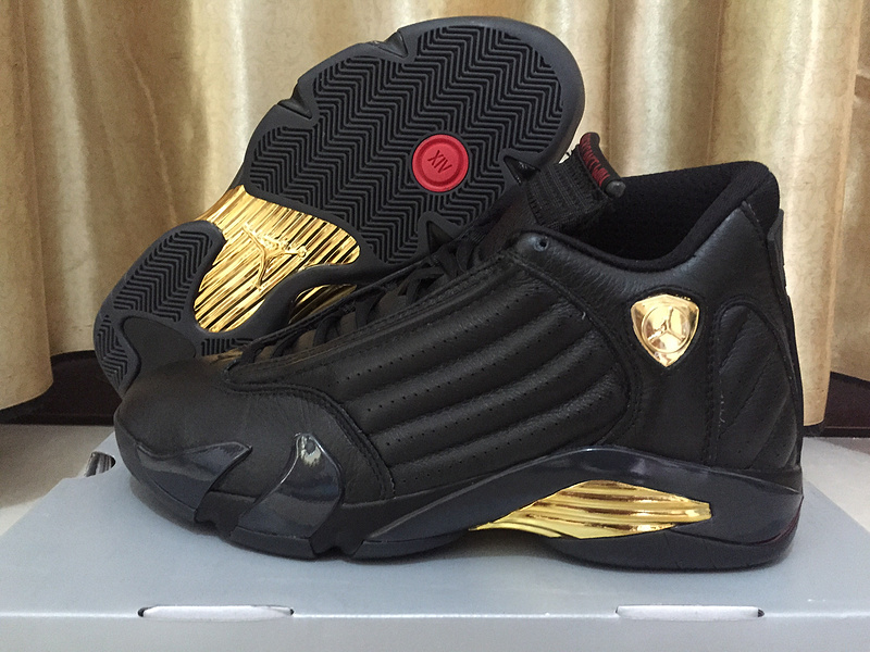 New Air Jordan 14 Champion Black Gold Shoes