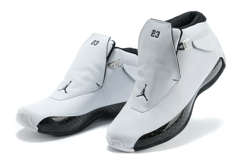 New Original Air Jordan 18 White Black Shoes