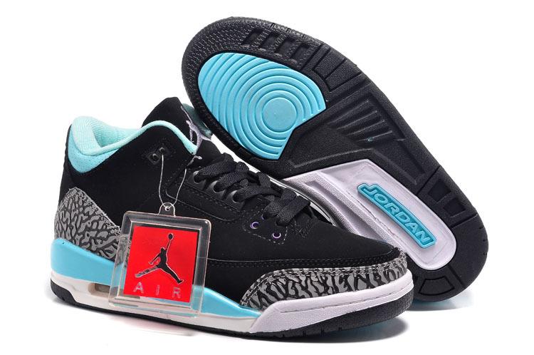 New Air Jordan 3 Black Baby Blue Grey Cement For Women