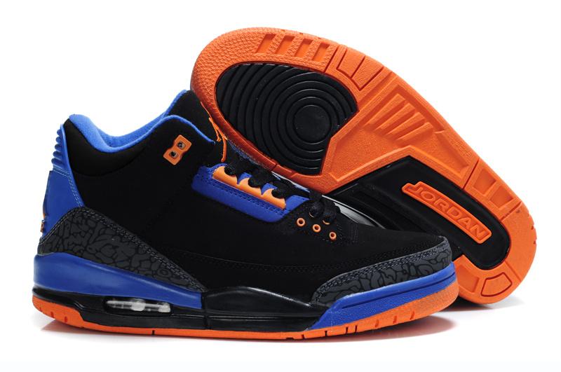 Air Jordan Retro 3 Black Blue Orange