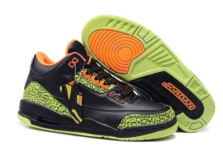 New Air Jordan 3 Black Green Cement Orange Shoes