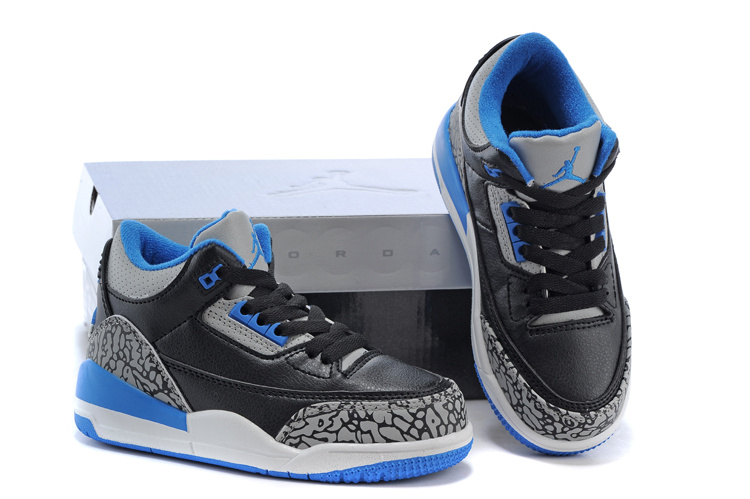 New Air Jordan 3 Black Grey Cement Blue Shoes For Kids