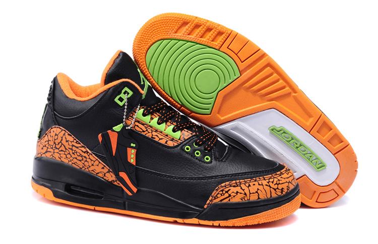New Air Jordan 3 Black Orange Shoes