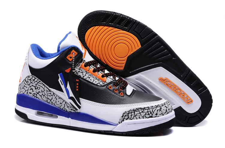 New Air Jordan 3 Black White Blue Orange Shoes