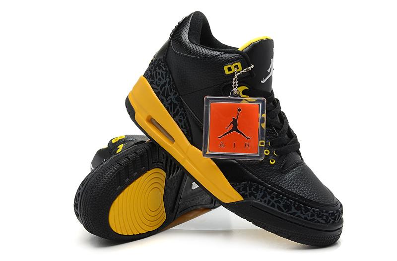 2013 Air Jordan 3 Black Yellow Shoes