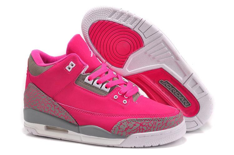 New Air Jordan 3 Hot Pink Grey Cement For Women