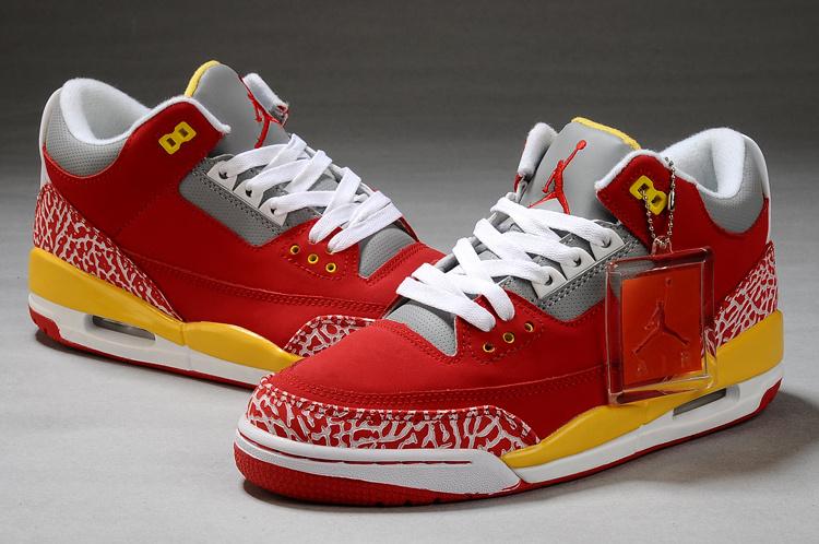 Air Jordan Retro 3 Red Grey White