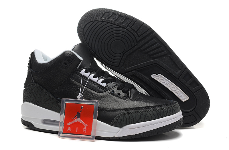 New Air Jordan 3 Retro Black Cement White Shoes