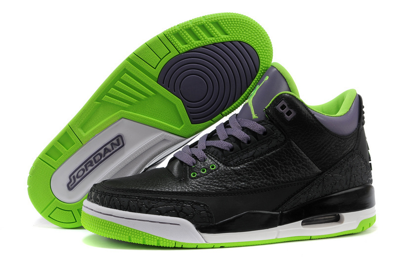 New Air Jordan 3 Retro Black Purple Green Shoes