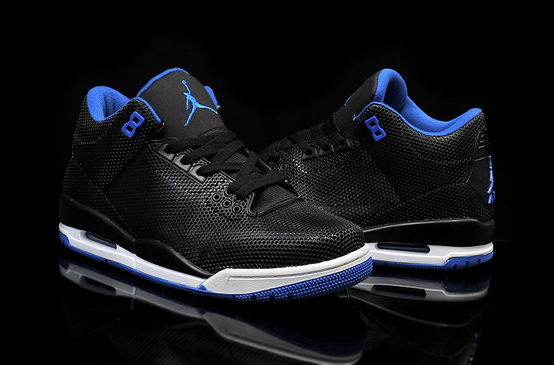 New Air Jordan 3 Retro PVC Black Blue White Shoes