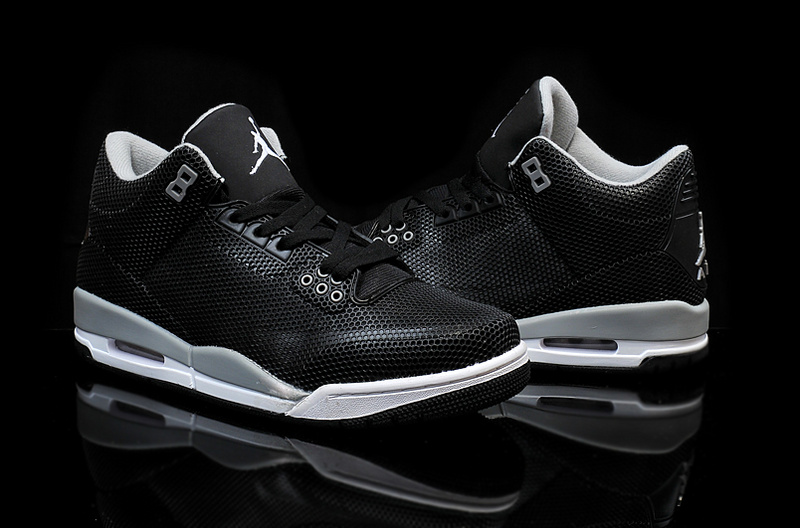 New Air Jordan 3 Retro PVC Black Grey White Shoes