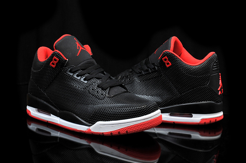 New Air Jordan 3 Retro PVC Black Red White Shoes