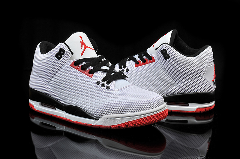 New Air Jordan 3 Retro PVC Grey Black Red Shoes