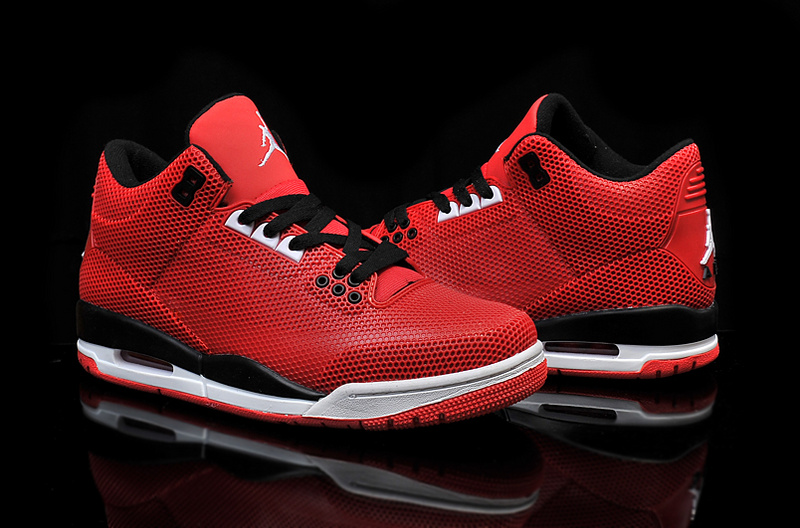 New Air Jordan 3 Retro PVC Red Black White Shoes