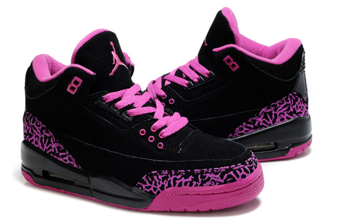 New Air Jordan 3 Suede Black Pink Cement Shoes For Women