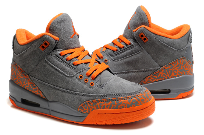 New Air Jordan 3 Suede Grey Orange Cement Shoes For Women