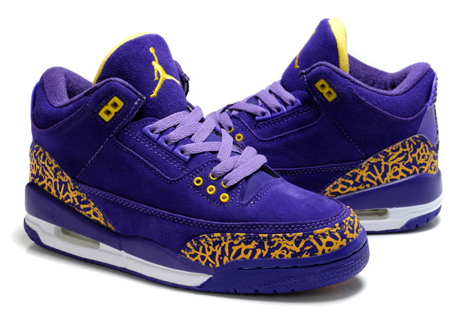 New Air Jordan 3 Suede Purple Yellow Cement Shoes For Women