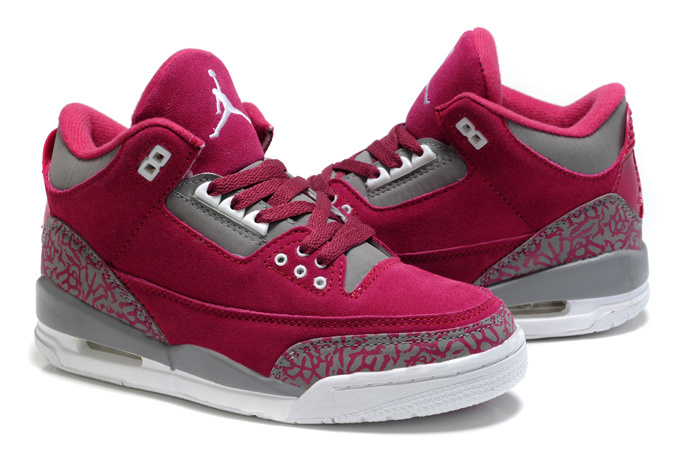 New Air Jordan 3 Suede Red Grey Cement Shoes For Women
