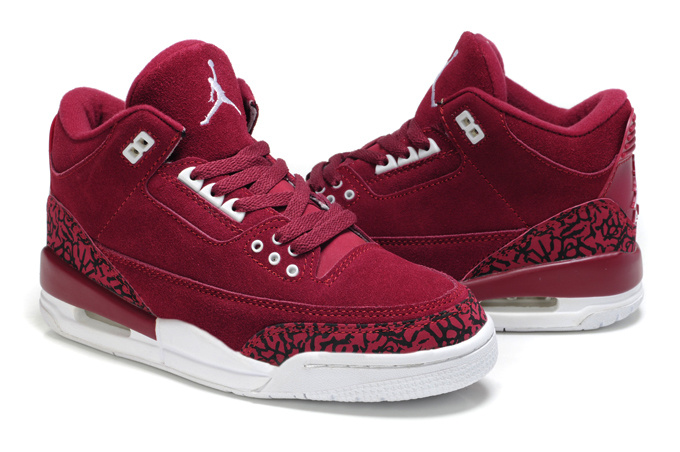 New Air Jordan 3 Suede Wine Red Black Cement Shoes For Women