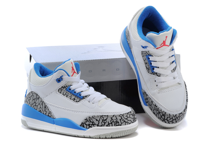 New Air Jordan 3 White Grey Cement Baby Blue Shoes For Kids