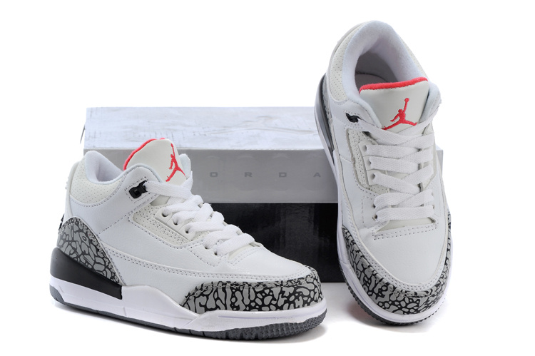 New Air Jordan 3 White Grey Cement Black Shoes For Kids
