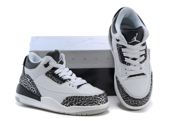New Air Jordan 3 White Grey Cement Shoes For Kids