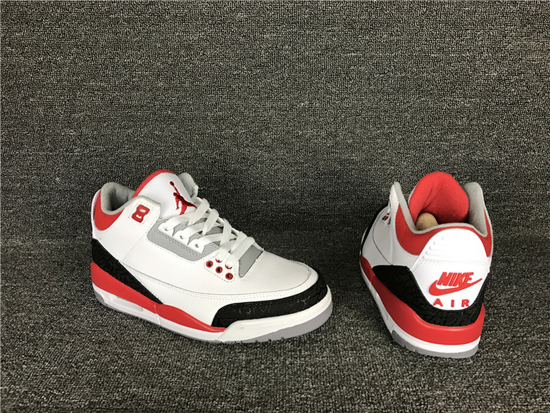 New Air Jordan 3 White Red Black Shoes