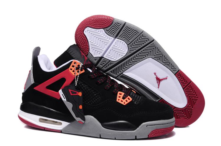 2013 Air Jordan 4 Black Dark Red Grey Shoes
