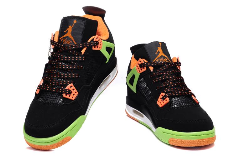 2013 Air Jordan 4 Black Green Orange Shoes