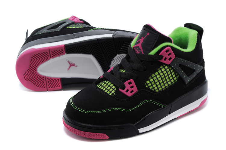 New Air Jordan 4 Black Green Pink For Kids