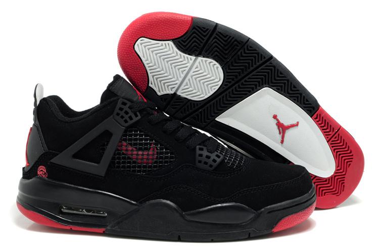 Air Jordan Retro 4 Black Red Logo