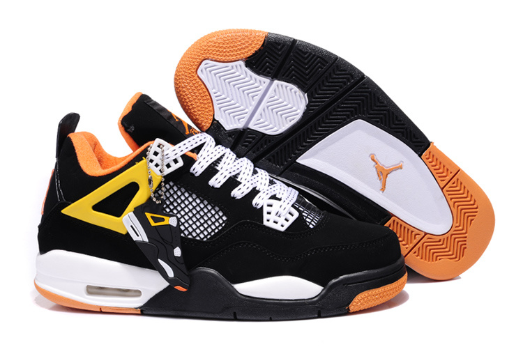 2013 Air Jordan 4 Black White Orange Shoes