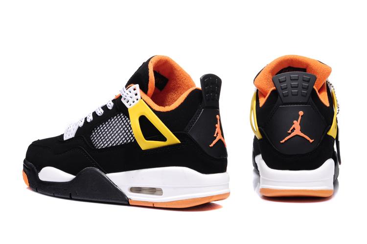 2013 Air Jordan 4 Black White Orange Shoes