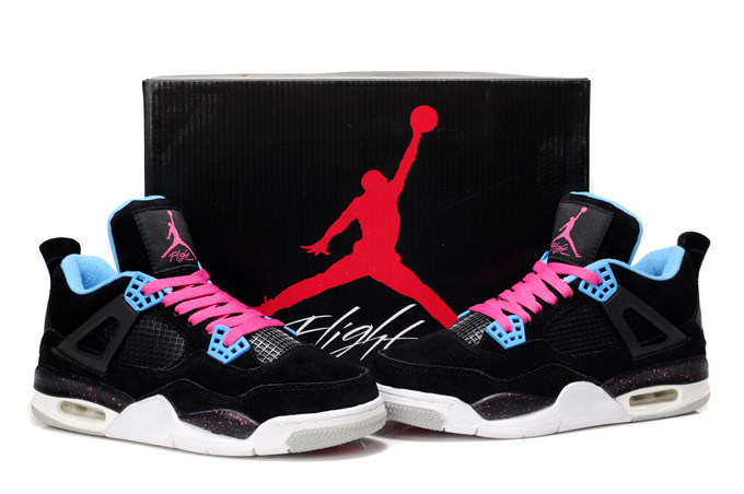 2013 Air Jordan 4 Black White Pink For Women