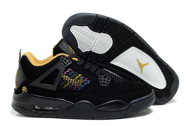 Air Jordan Retro 4 Black Yellow Logo