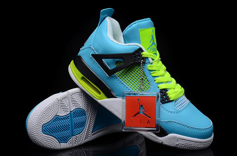 New Air Jordan 4 Blue Green White Shoes